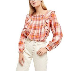 🌟 FREE PEOPLE SIENA PLAID PULLOVER BLOUSE NWT 🌟